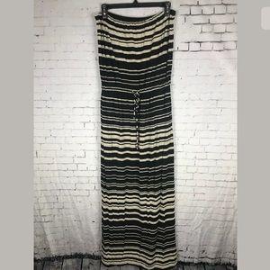 J. CREW SMALL STRAPLESS MAXI DRESS BLACK BEIGE